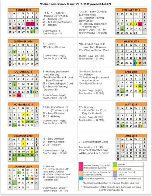 Northeastern 2020 Calendar District Calendar / 2018 2019 Calendar (Overview)