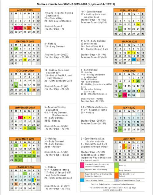 Northeastern 2020 Calendar District Calendar / 2019 2020 Calendar (at a glance)